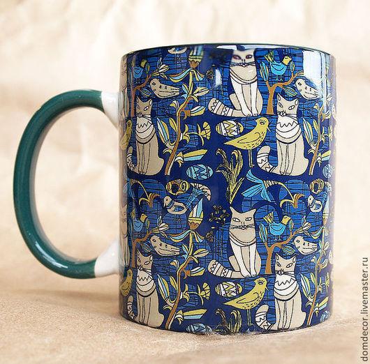 """Подарки на Пасху ручной работы. Ярмарка Мастеров - ручная работа. Купить Чашка """"Кошки и птички."""". Handmade. Зеленый, Кошки"""