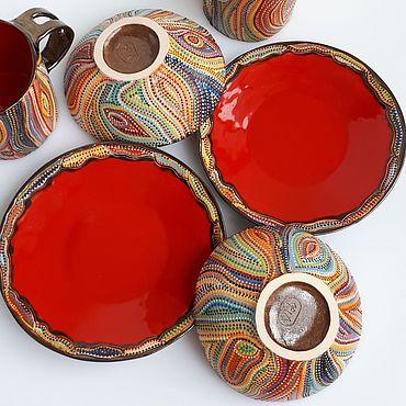 Посуда ручной работы. Ярмарка Мастеров - ручная работа Сервизы и наборы с точечной глазурной росписью. Handmade.