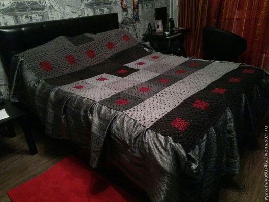 """Текстиль, ковры ручной работы. Ярмарка Мастеров - ручная работа. Купить Покрывало на кровать """"Много оттенков серого"""". Handmade. Разноцветный"""