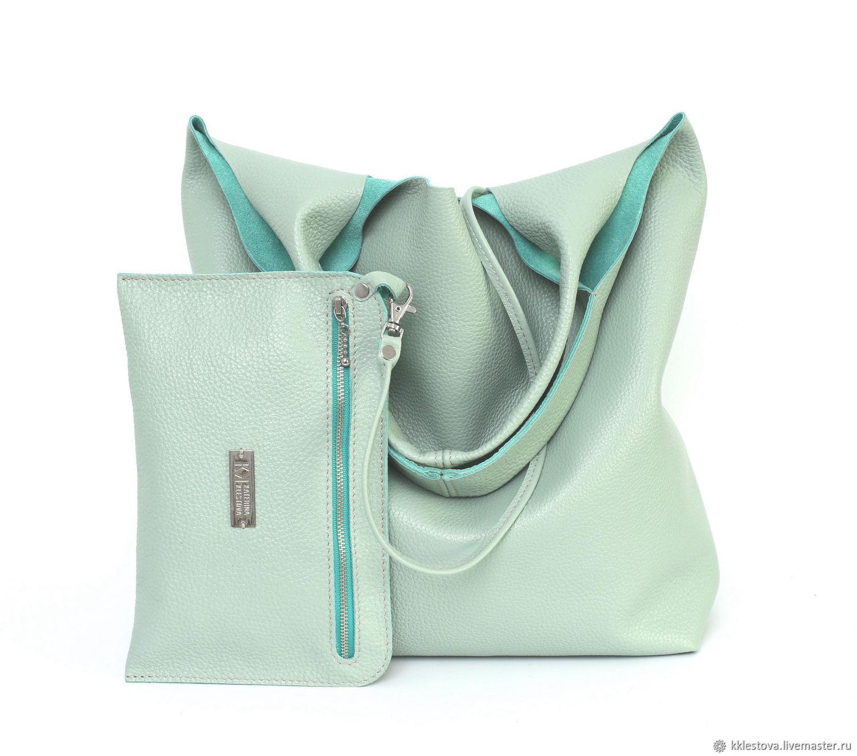 Bag Shopper Leather Mint Bag with Cosmetic Bag Bag String Bag T-shirt, Sacks, Moscow,  Фото №1
