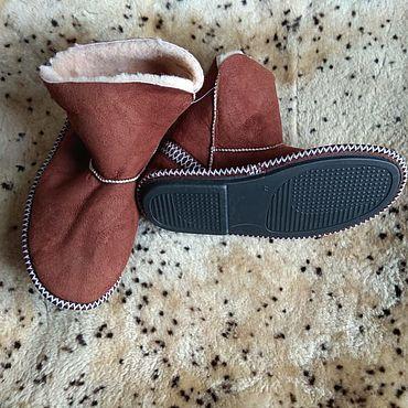 Обувь ручной работы. Ярмарка Мастеров - ручная работа Угги домашние коричневые.Овчина. Handmade.
