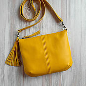 Классическая сумка ручной работы. Ярмарка Мастеров - ручная работа Кожаная сумка на плечо.Желтая кожаная сумка.Желтый,охра. Handmade.