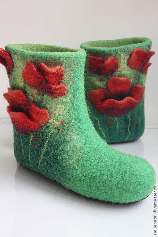 """Обувь ручной работы. Ярмарка Мастеров - ручная работа. Купить Валенки """"Маковое поле"""" 2. Handmade. Зеленый, маки"""