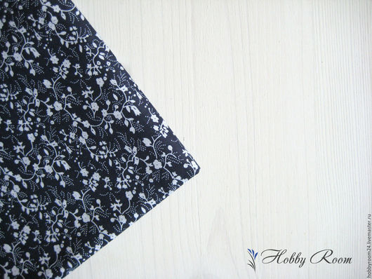 """Шитье ручной работы. Ярмарка Мастеров - ручная работа. Купить Ткань хлопок """"Белые цветочки на темно-синем"""". Handmade. отрезы"""