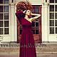 Платья ручной работы. Платье в пол асимметрик бордо. Dudu-dress. Ярмарка Мастеров. Платье, длинное, красное платье