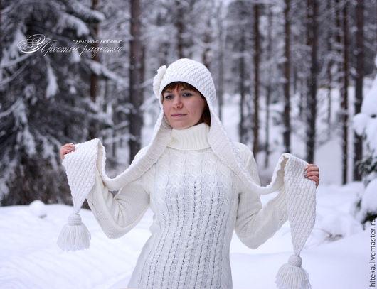 """Шапки ручной работы. Ярмарка Мастеров - ручная работа. Купить Зимняя шапка """"Тара"""". Handmade. Шапка, белый, шапка с кистями"""