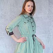 Одежда handmade. Livemaster - original item Dress shirt Pugovkina /mint bitter chocolate/. Handmade.