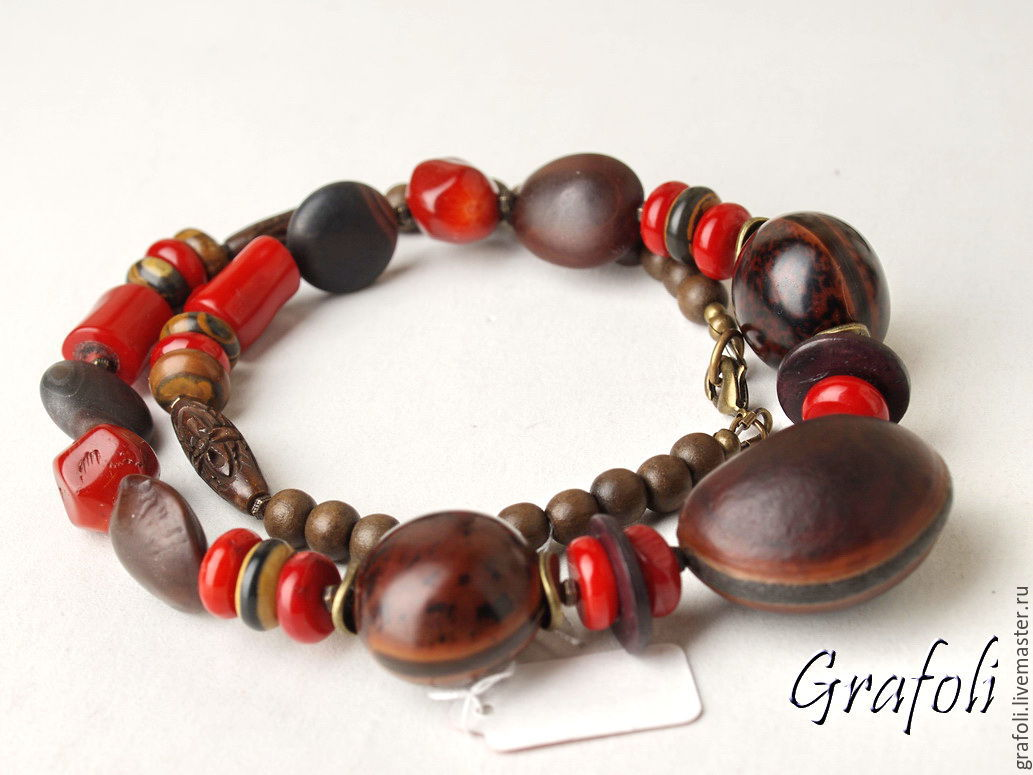 Beads red stones and nuts with coral, Necklace, Moscow,  Фото №1