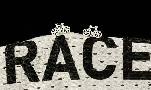 Серьги ручной работы. Ярмарка Мастеров - ручная работа. Купить Серьги «Велосипеды». Handmade. Белый, турист, trip