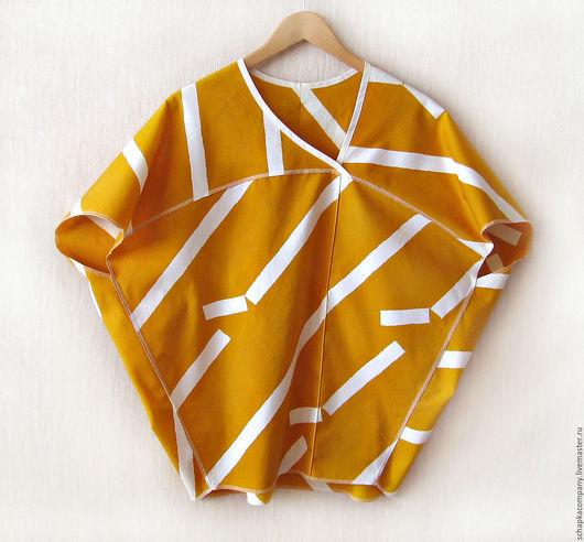 Блузки ручной работы. Ярмарка Мастеров - ручная работа. Купить Блуза-топ Geometry. Handmade. Желтый, белая полоска