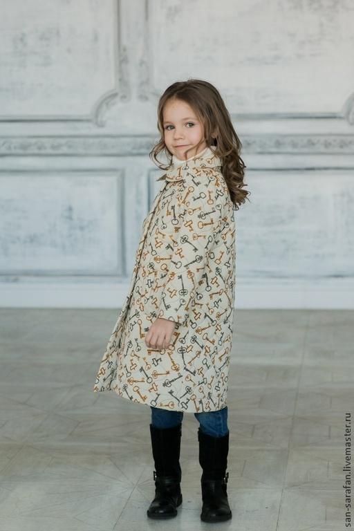 Одежда для девочек, ручной работы. Ярмарка Мастеров - ручная работа. Купить Детское утепленное пальто. Handmade. Бежевый, ключи