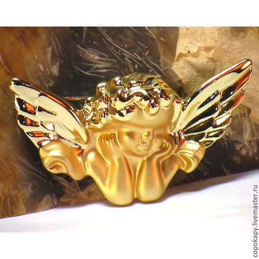 """Винтажные украшения. Ярмарка Мастеров - ручная работа. Купить Винтажная брошь """"Задумчивый ангел"""". Handmade. Золотой, матовое покрытие, ангел"""