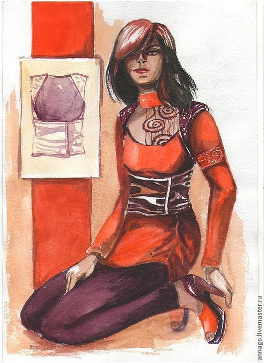 Иллюстрации ручной работы. Ярмарка Мастеров - ручная работа. Купить Эскиз костюма. Handmade. Эскиз, дизайн одежды