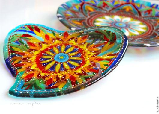 Тарелки ручной работы. Ярмарка Мастеров - ручная работа. Купить тарелка из стекла, фьюзинг Сердце принадлежит Востоку. Handmade. Комбинированный