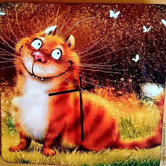 """Часы для дома ручной работы. Ярмарка Мастеров - ручная работа. Купить Настенные часы """"Рыжее кото-счастье"""". Handmade. Рыжий"""