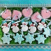 Подарки к праздникам handmade. Livemaster - original item Set the gingerbread on the Christmas tree Gentle. Handmade.