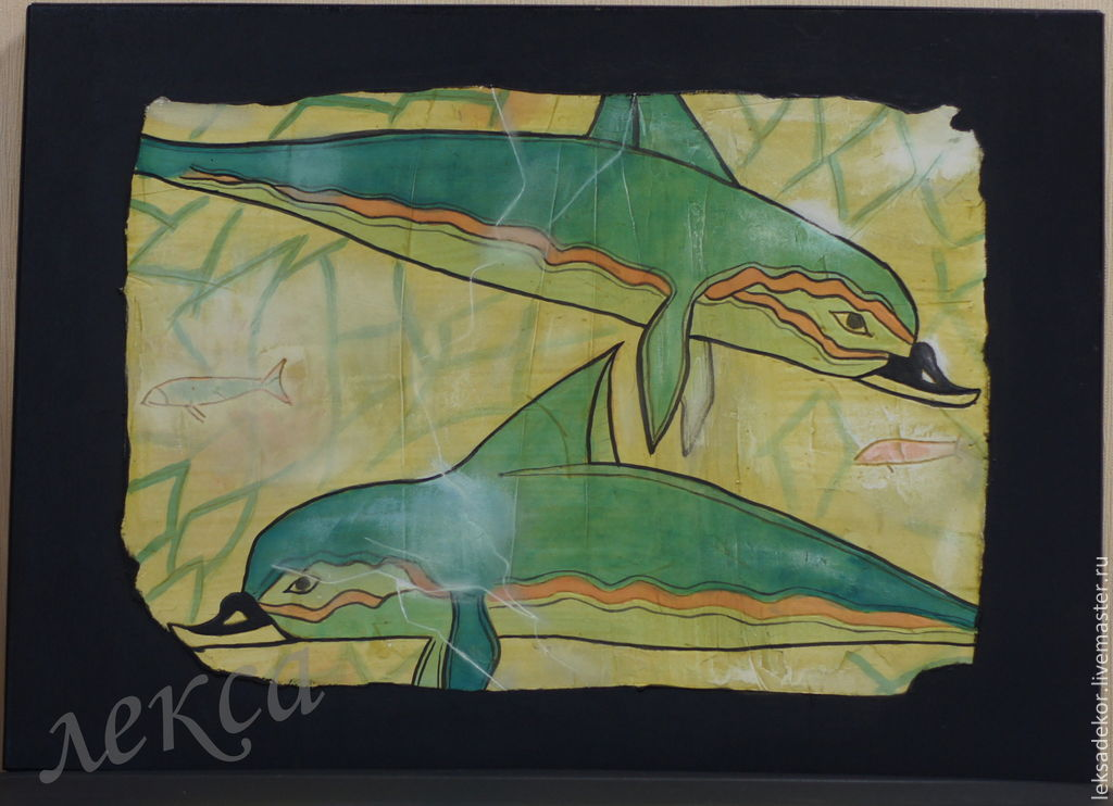 Stylish wall murals -`dolphins`. Decorative panels - a fragment of ancient Greek murals for themed and stylish interior. Distressed panels in the living room. an unusual gift for a pleasure