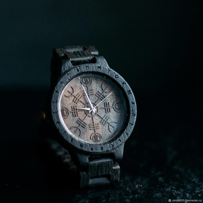 """Часы деревянные ручной работы  """"Агисхьяльм"""" с рунами, Watches, Belaya Cerkov,  Фото №1"""