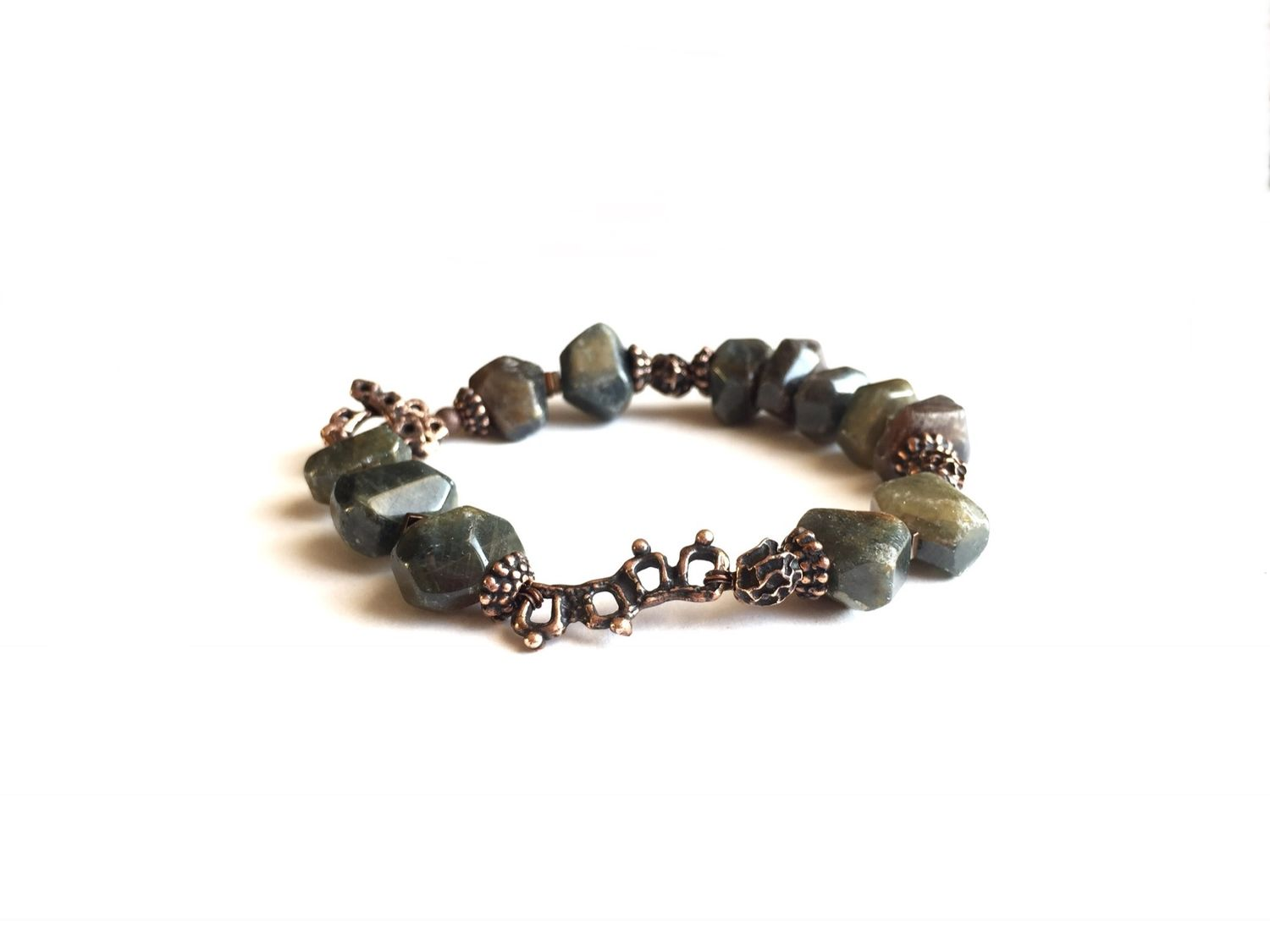 Bracelet made of natural stones Apatity, author's bronze Anna Black, Bead bracelet, Moscow,  Фото №1