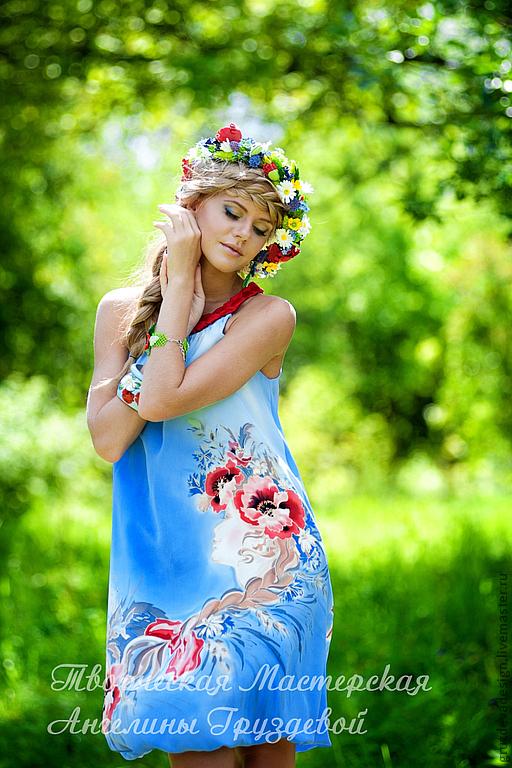 Платья ручной работы. Ярмарка Мастеров - ручная работа. Купить Девушка поля, ручная роспись. Handmade. Голубой, натуральный шелк