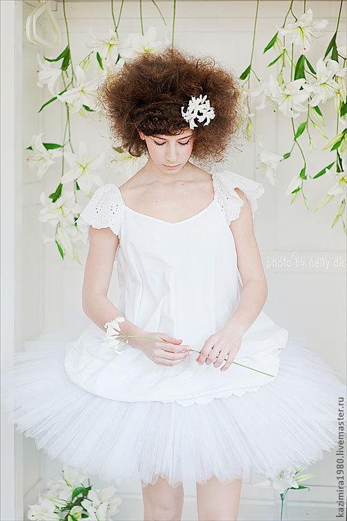 Свадебные украшения ручной работы. Ярмарка Мастеров - ручная работа. Купить Белая нерина для свадебной прически. Handmade. Белый