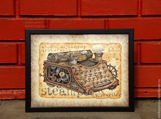 """Фантазийные сюжеты ручной работы. Ярмарка Мастеров - ручная работа. Купить Картина в раме """"Стимпанк Печатная машинка"""" ретро коричневый лофт. Handmade."""