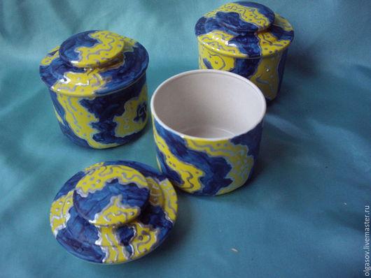 Декоративная посуда ручной работы. Ярмарка Мастеров - ручная работа. Купить набор баночек для сыпучих продуктов. Handmade. Тёмно-синий