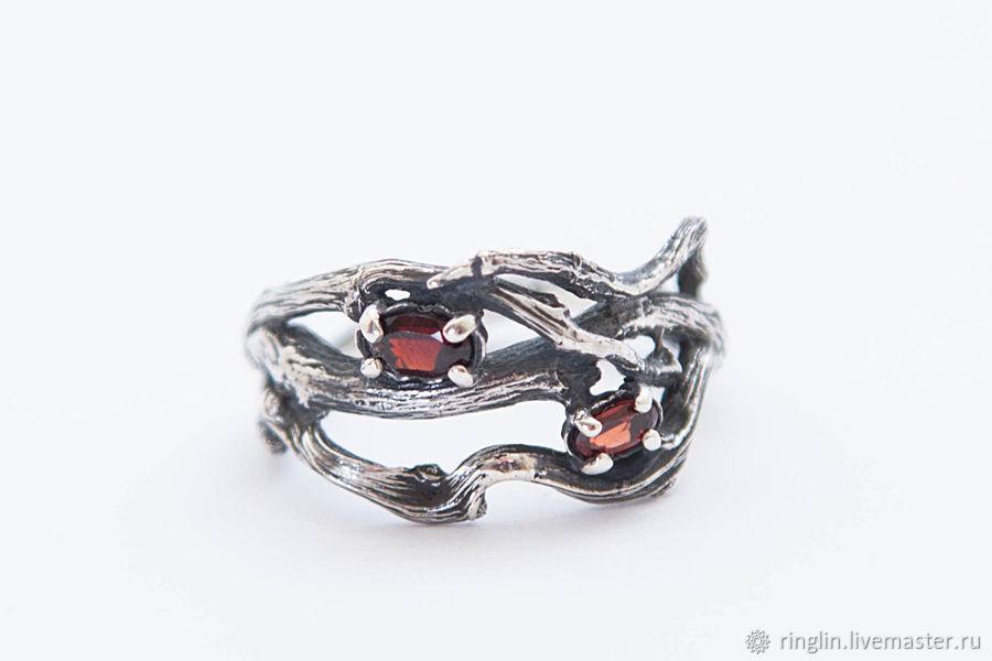 Кольца ручной работы. Ярмарка Мастеров - ручная работа. Купить Кольцо из веточек с двумя камнями. Handmade. Кольцо, кольцо серебро