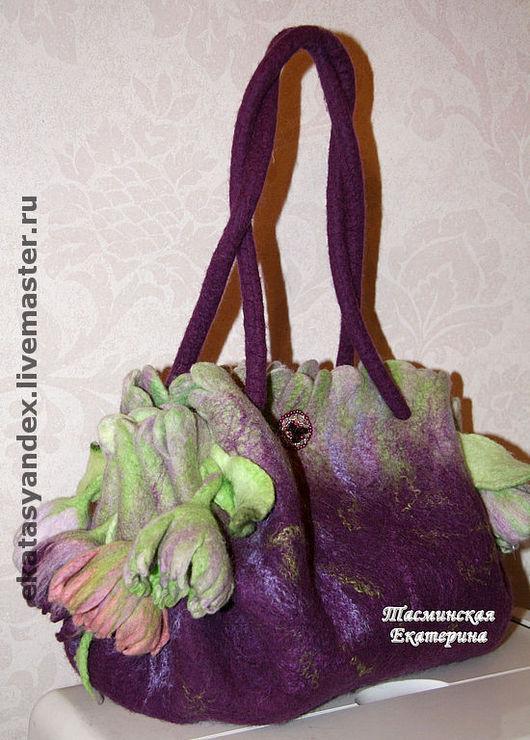 Женские сумки ручной работы. Ярмарка Мастеров - ручная работа. Купить Ранние тюльпаны (в фиолетовом). Handmade. Тюльпаны