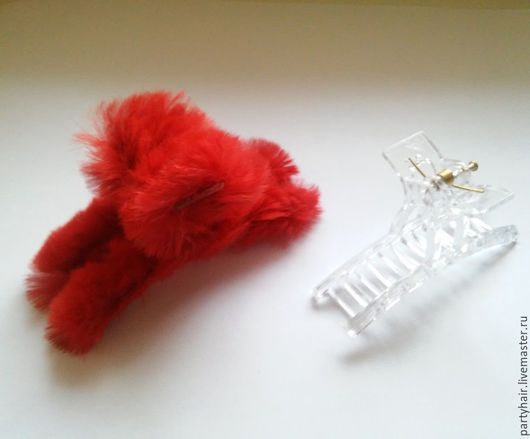 Заколки ручной работы. Ярмарка Мастеров - ручная работа. Купить Меховые крабики  для волос (кролик). Handmade. Краб, заколка для воло