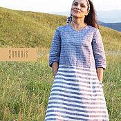 Одежда ручной работы. Ярмарка Мастеров - ручная работа Полосатое льняное платье с карманами. Handmade.