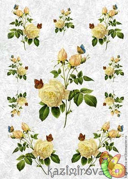 Декупаж и роспись ручной работы. Ярмарка Мастеров - ручная работа. Купить Рисовая бумага для декупажа Love2Art Желтые розы 32х45 см. Handmade.