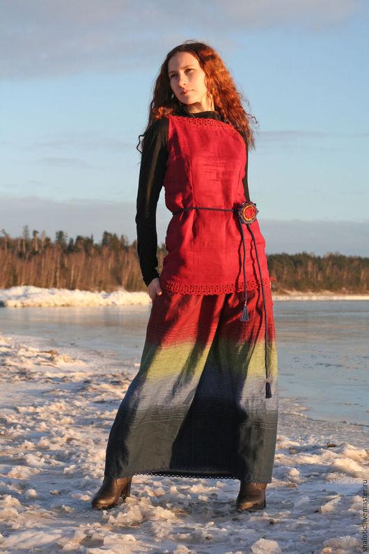 Юбка льняная в пол, длинная  летняя юбка, юбка в стиле бохо, юбка ручной работы,автор Юлия Льняная сказка