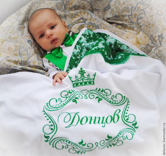 """Для новорожденных, ручной работы. Ярмарка Мастеров - ручная работа. Купить Фамильный плед/одеяло на выписку """"Изумрудные сны"""". Handmade. Зеленый"""