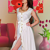 Одежда handmade. Livemaster - original item white dress with gold buttons