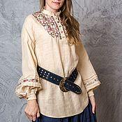 Одежда handmade. Livemaster - original item Linen tunic /Cranberry peonies baked milk/. Handmade.