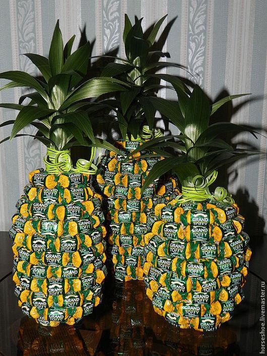 Кулинарные сувениры ручной работы. Ярмарка Мастеров - ручная работа. Купить ананас из конфет. Handmade. Конфеты, сладкий подарок
