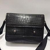 Сумки и аксессуары handmade. Livemaster - original item Men`s bag, crocodile leather, in black.. Handmade.