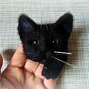 Украшения handmade. Livemaster - original item brooches: Felted brooch Black cat made of natural sheep wool.. Handmade.