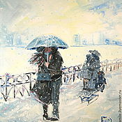 Картины и панно handmade. Livemaster - original item Oil painting on canvas. Umbrella and sleigh..... Handmade.