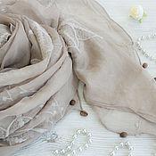 Аксессуары handmade. Livemaster - original item Exclusive silk embroidered scarf from Gucci fabric dark beige. Handmade.