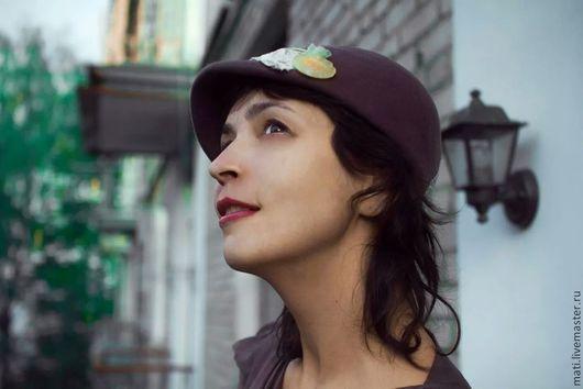 Шляпы ручной работы. Ярмарка Мастеров - ручная работа. Купить Кепарик. Handmade. Брусничный, шляпка, подкладка вискоза