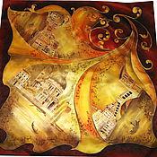 """Аксессуары ручной работы. Ярмарка Мастеров - ручная работа Шелковый платок-батик """"Венеция"""". Handmade."""
