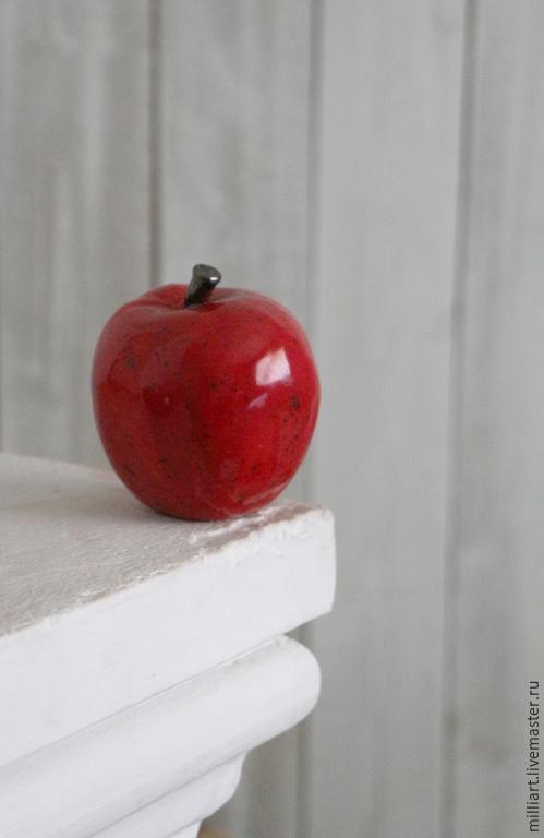 Элементы интерьера ручной работы. Ярмарка Мастеров - ручная работа. Купить Яблоки керамические. Handmade. Ярко-красный, яблоко