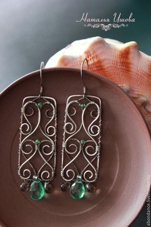 Серьги ручной работы. Ярмарка Мастеров - ручная работа. Купить серьги с хризолитом из серебра. Handmade. Ярко-зелёный, подарок девушке