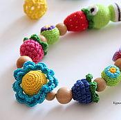 Слингобусы ручной работы. Ярмарка Мастеров - ручная работа Слингобусы и грызунок - комплект Синий цветочек. Handmade.