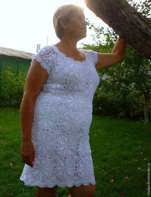"""Платья ручной работы. Ярмарка Мастеров - ручная работа. Купить Платье """"Белый пион"""". Handmade. Белый, Вязание крючком"""