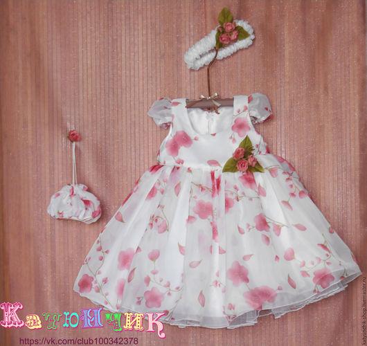 Одежда для девочек, ручной работы. Ярмарка Мастеров - ручная работа. Купить Платье для маленькой девочки, повязка, сумочка и брошь. Handmade.