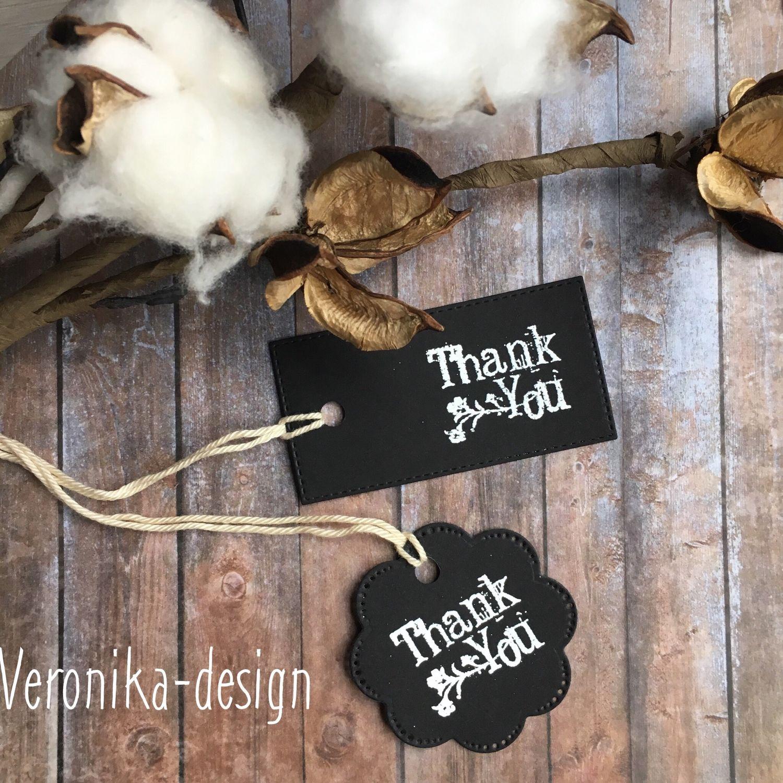 Упаковка ручной работы. Ярмарка Мастеров - ручная работа. Купить Бирки чёрные «Thank you». Handmade. Упаковка подарка