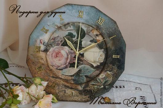 """Часы для дома ручной работы. Ярмарка Мастеров - ручная работа. Купить Часики""""Поздние розы"""". Handmade. Морская волна, краски акриловые"""